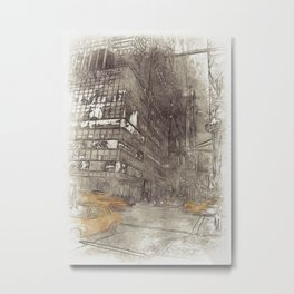 NYC Yellow Cabs Night - SKETCH Metal Print