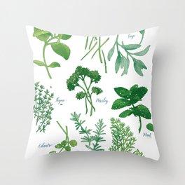 Kitchen Herbs Throw Pillow