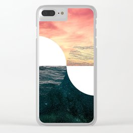 Sunset Moon Horizon Clear iPhone Case