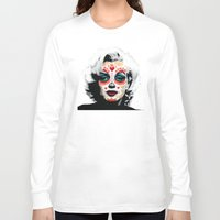 marylin monroe Long Sleeve T-shirts featuring Marylin de los Muertos 1 by jazzyjules63