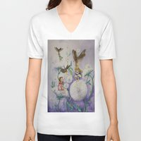 fireflies V-neck T-shirts featuring Girls and Fireflies by SandraSueSteiner