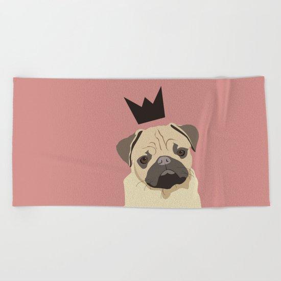 Royal pug Beach Towel