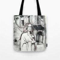 les miserables Tote Bags featuring Les Miserables Portrait Series - Fantine by Flávia Marques