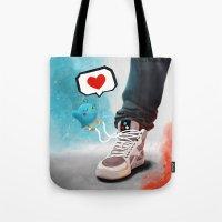 sneaker Tote Bags featuring sneaker Love by Dominik Gottherr