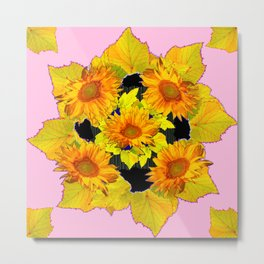 Golden Sunflowers & Leaves Pink-Black Patterns Metal Print