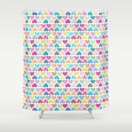 Rainbow Wild Hearts Shower Curtain