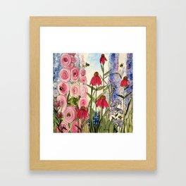 Cottage Garden Flower Whimsical Acrylic Painting Framed Art Print