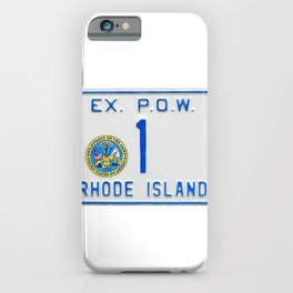 Rhode Island License Vanity Plate No. 1 Ex. POW - Ocean State photographic portrait iPhone Case