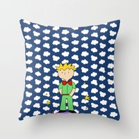 le petit prince Throw Pillows featuring Le petit prince by EnelBosqueEncantado