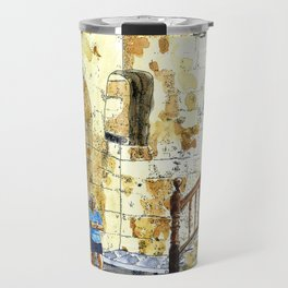 Woman Enjoying the Sun - Castillo de la Real Fuerza, Habana Vieja, Cuba Travel Mug