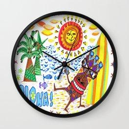 Mid Century Modern Hawaiian Tiki Toast blue border Wall Clock
