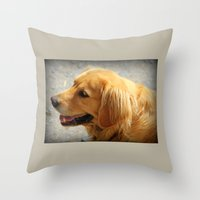 golden retriever Throw Pillows featuring Happy Golden Retriever  by MyLove4Art