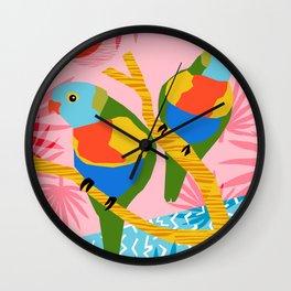 Besties - retro throwback memphis bird art pattern bright neon pop art abstract 1980s 80s style mini Wall Clock
