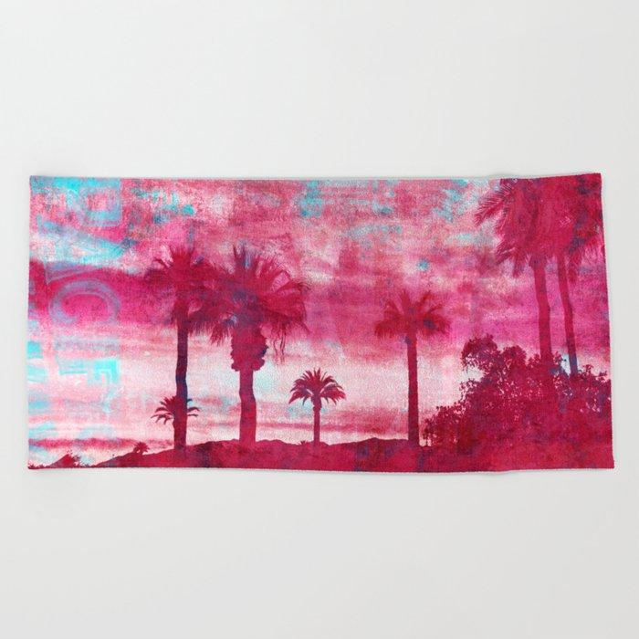Pacific Island Grunge Look Mixed Media Art Beach Towel