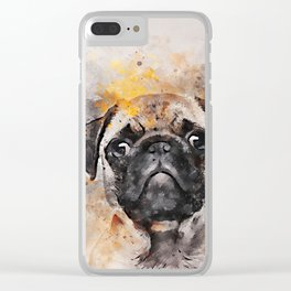 Pug Puppy Using Watercolor On Raw Canvas Clear iPhone Case