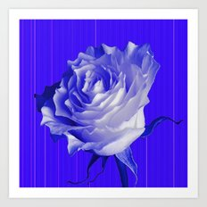 White Rose On Indigo Purple Patterns  Art Print