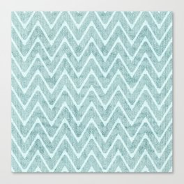 Palest Sea Green Zigzag Imitation Terrycloth Canvas Print