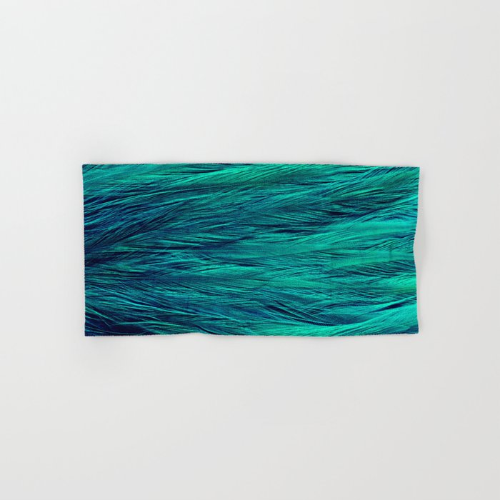 Teal Feathers Hand & Bath Towel