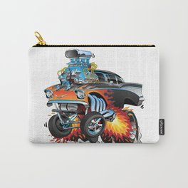 Classic hot rod 57 gasser drag racing muscle car cartoon Carry-All Pouch