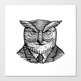 Hipster Owl Suit Woodcut Canvas Print