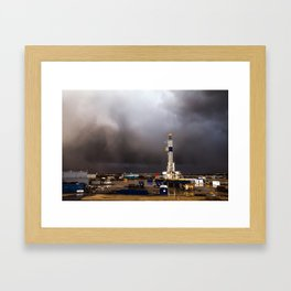 Oil Rig - Storm Passes Behind Derrick in Central Oklahoma Framed Art Print