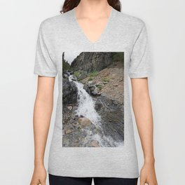 Waterfall below the Silver Cloud Mine, at 11,413 feet Unisex V-Neck