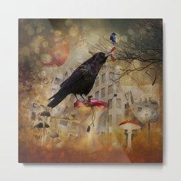 Raven in a City Metal Print