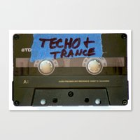 techno Canvas Prints featuring TECHNO by The Family Art Project