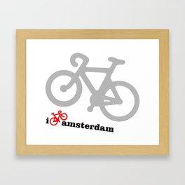I Love Amsterdam - Red Bike Framed Art Print