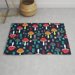 Multicolored mushrooms Rug