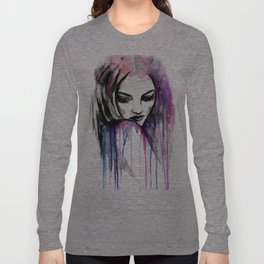 Watercolour Fashion Illustration Portrait Queen of Silence Long Sleeve T-shirt