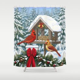 Red Cardinals and Christmas Bird Feeder Shower Curtain