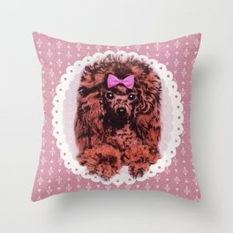 Cute Poodle Dog Throw Pillow