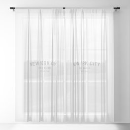 New York City - NY, USA (White Arc) Sheer Curtain