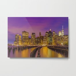 MANHATTAN SKYLINE Bright Sunset Metal Print