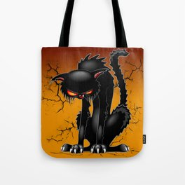Black Cat Evil Angry Funny Character Tote Bag