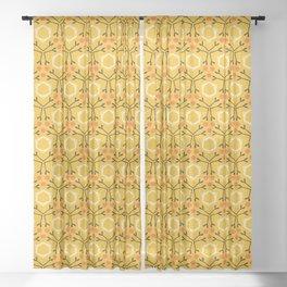 Autumn leaves grid seamless pattern. Sheer Curtain