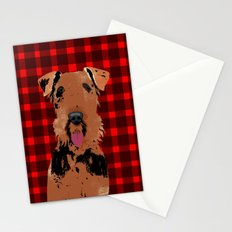 Airedale Terrier Dog on stripes Stationery Cards