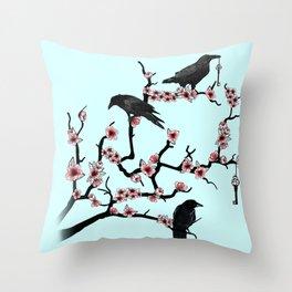 Ravens on cherry tree Throw Pillow