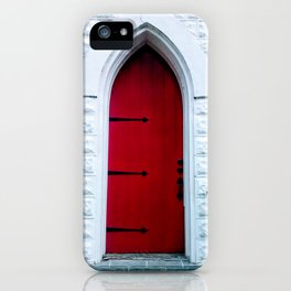 Red Church Door with Iron Blacksmith Hinges iPhone Case