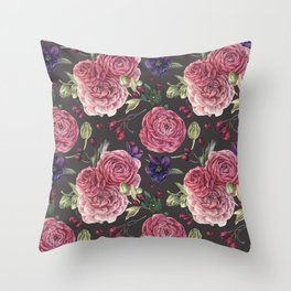 Pink Roses Romantic Pattern Grey Throw Pillow