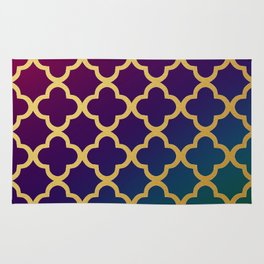 Gold quatrefoil pattern on jewel tones gradient Rug