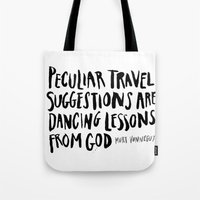 vonnegut Tote Bags featuring peculiar travel suggestions - kurt vonnegut by Shaina Anderson