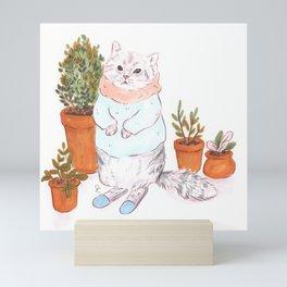 Cat Plant Lady Mini Art Print