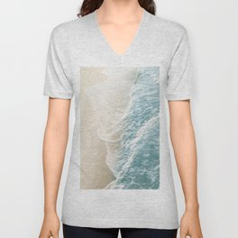 Soft Teal Gold Ocean Dream Waves #1 #water #decor #art #society6 Unisex V-Neck