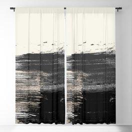 Artistic ivory black gold glitter paint brushstrokes Blackout Curtain