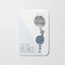 Graphic Art RELAX - FIND YOR BALANCE   blue Bath Mat