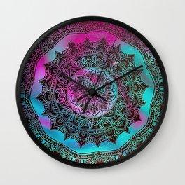 Ultra Violet And Teal Mandala Wall Clock