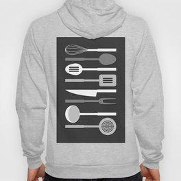 Kitchen Utensil Silhouettes Monochrome II Hoody