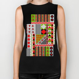 Geometric spring design with ladybugs and flowers Biker Tank